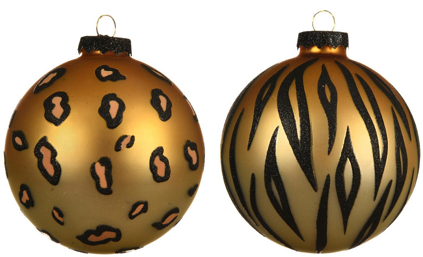 Weihnachtskugel-Set Cats Ø8cm, 2-tlg., Goldfarben, Schwarz, Ø 8 cm