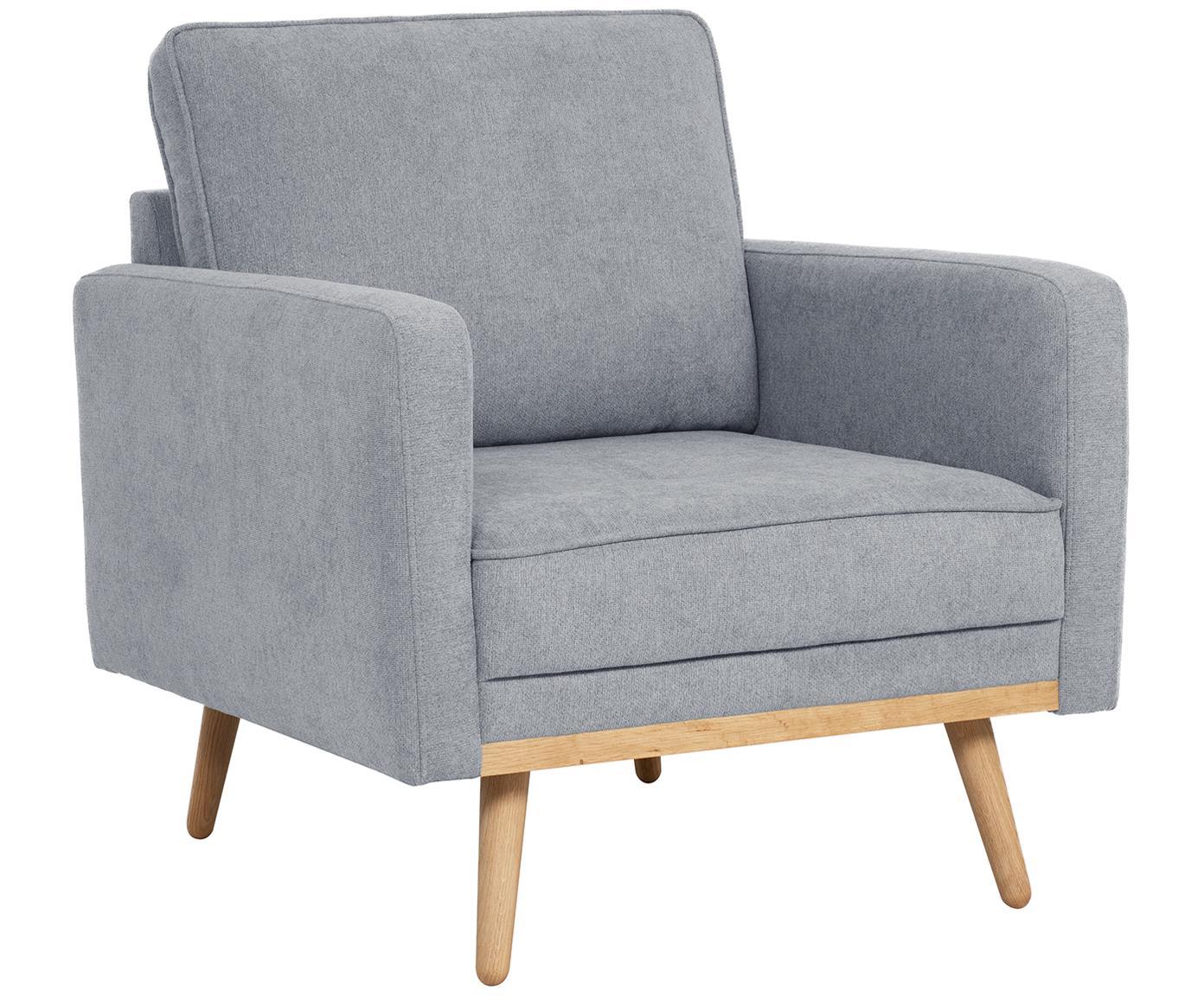 Fauteuil Saint, Bekleding: polyester, Frame: massief grenenhout, spaan, Geweven stof blauwgrijs, B 85 x D 76 cm