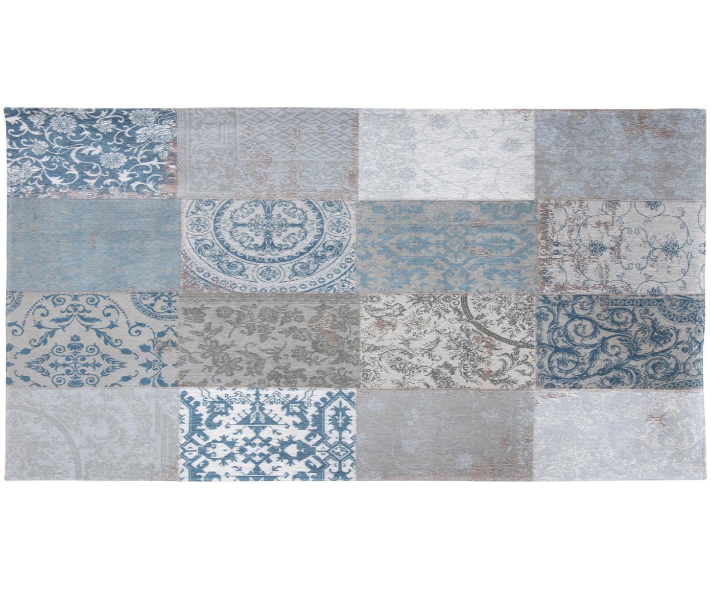 Chenille-Teppich Multi mit Patchwork-Design, Vorderseite: 85%Chenillegarn (Baumwol, Webart: Jacquard, Rückseite: Baumwollgemisch, latexbes, Blau, Grau, B 80 x L 150 cm (Größe XS)