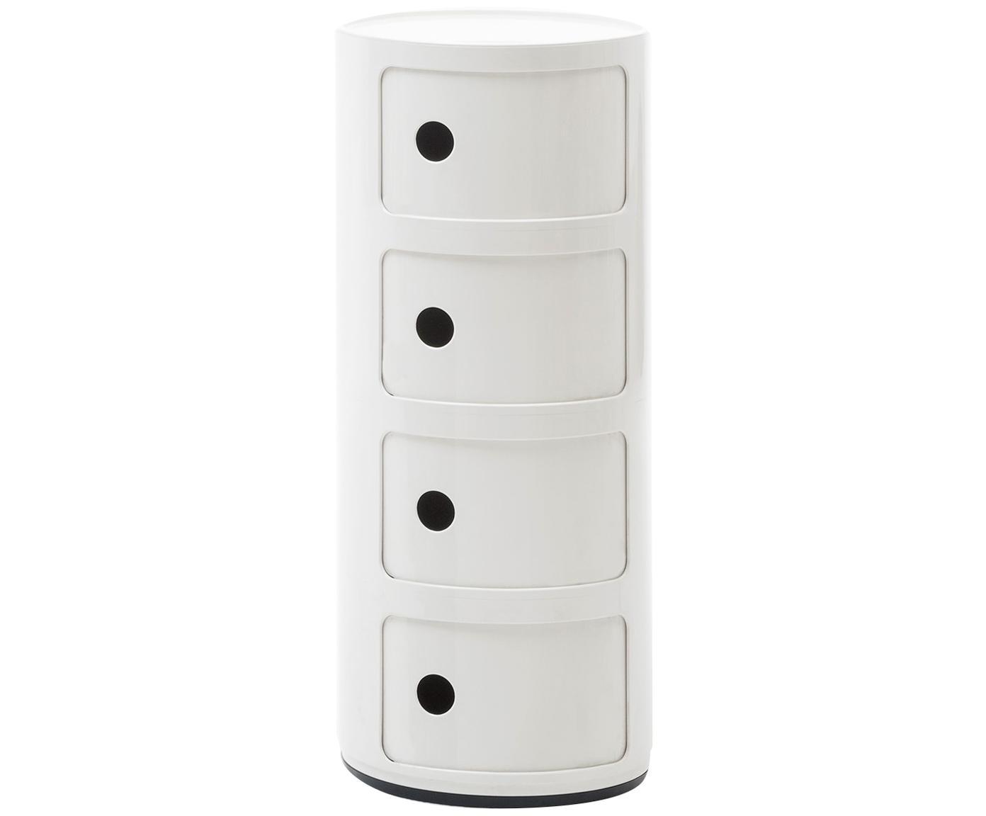 Comodino di design con cassetti Componibile, Materiale sintetico, Bianco, Ø 32 x Alt. 77 cm