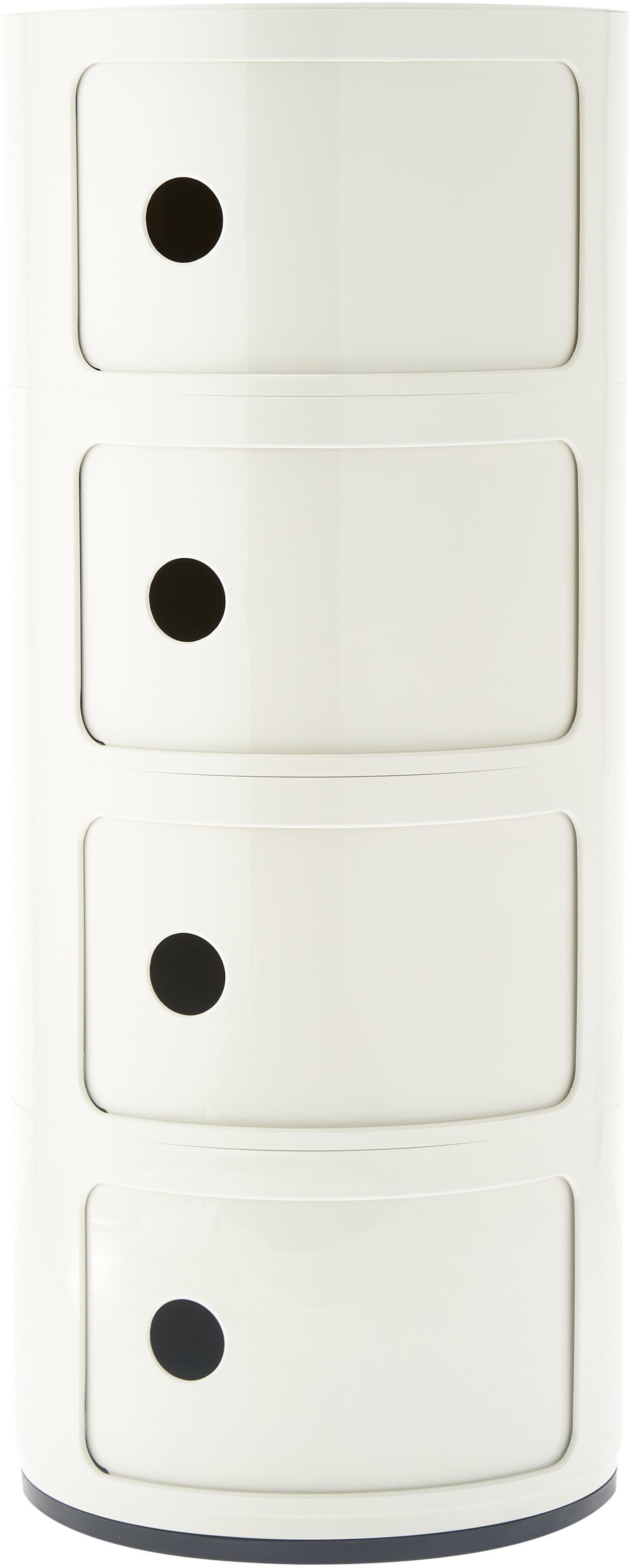 Design Container Componibili 4 Fächer, Kunststoff, Weiß, Ø 32 x H 77 cm