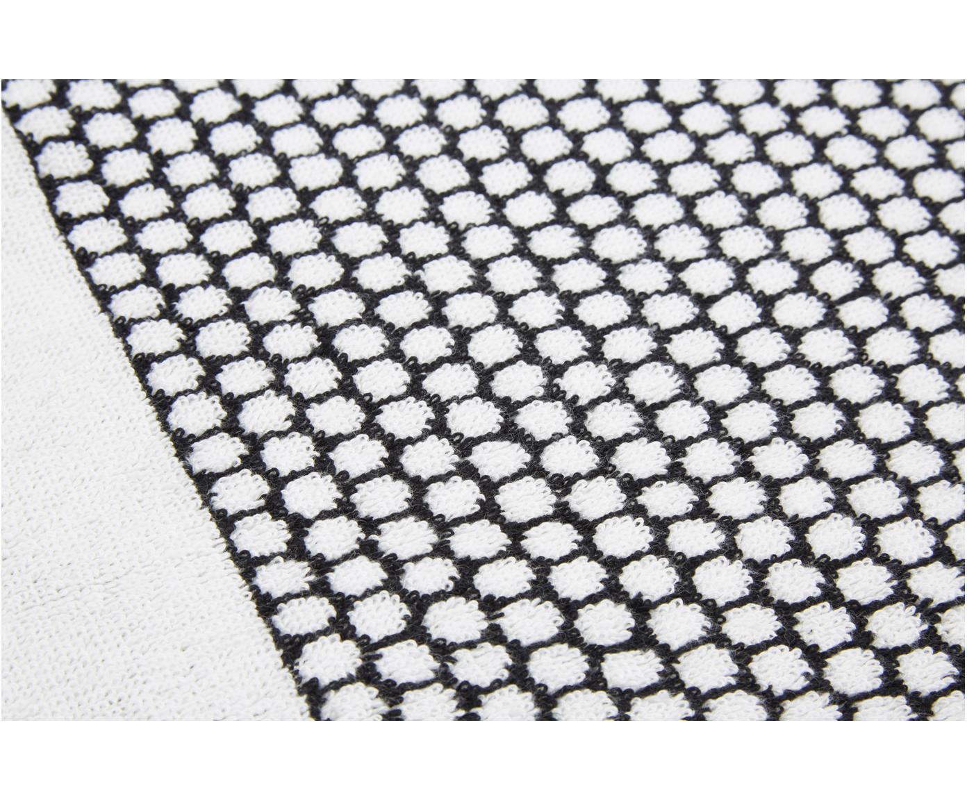Gepunktetes Handtuch Grid, verschiedene Grössen, Schwarz, Gebrochenes Weiss, Gästehandtuch