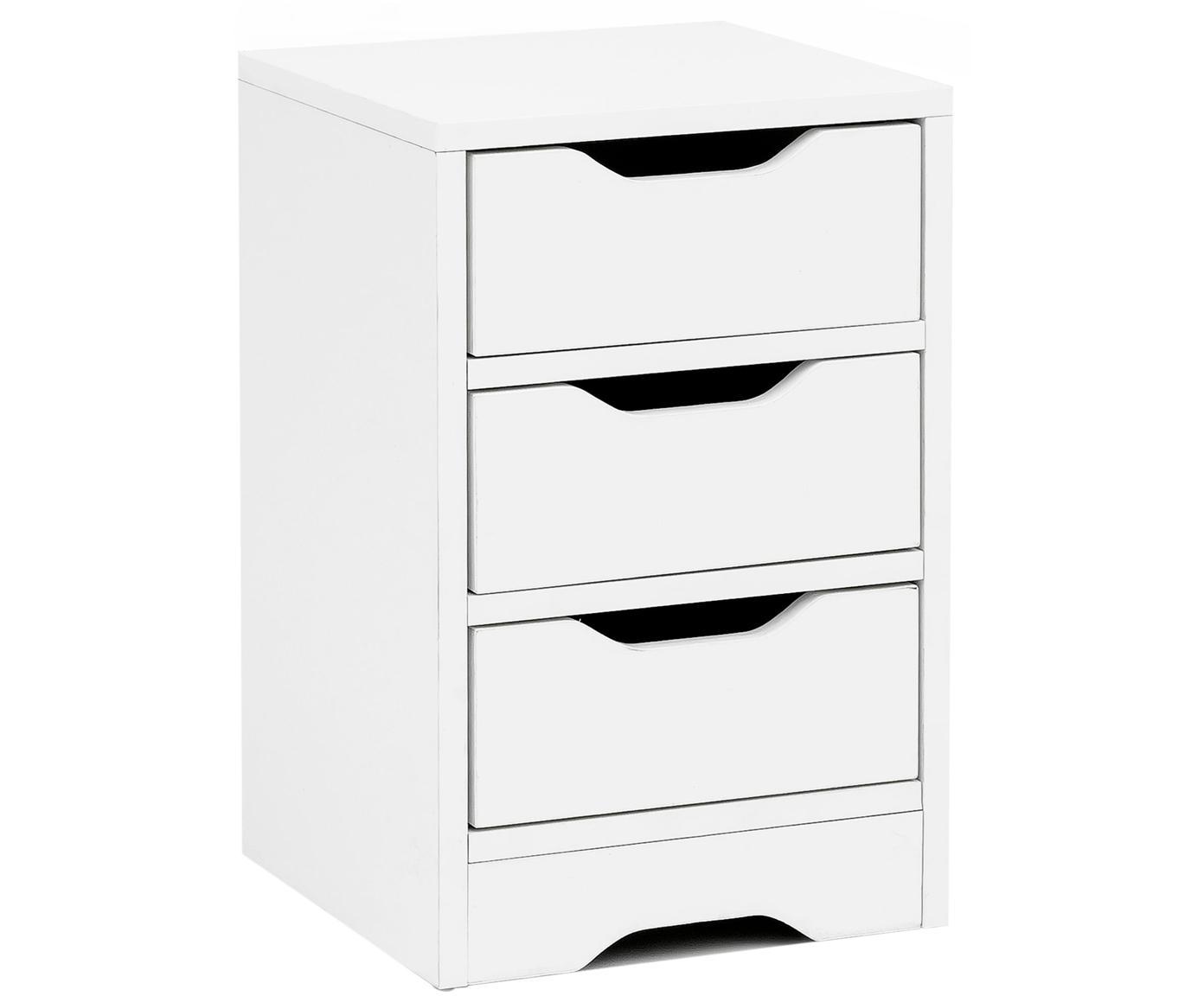 Comodino con 3 cassetti Wohnling, Truciolato, melaminico, Bianco, Larg. 31 x Alt. 49 cm