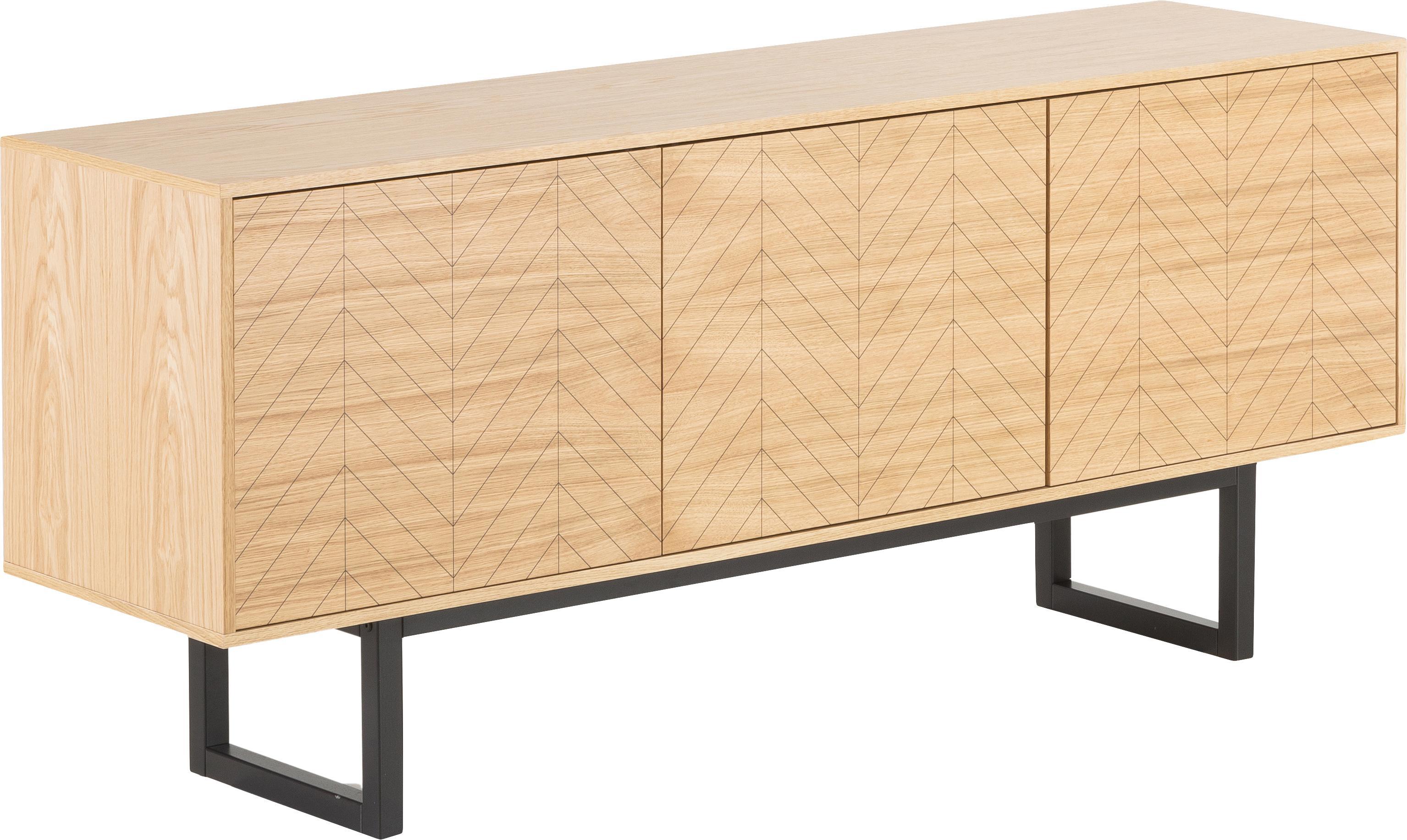 Design-Sideboard Camden mit Eichenholzfurnier, Korpus: Mitteldichte Holzfaserpla, Füße: Birkenholz, lackiert, Eichenholz, 175 x 75 cm