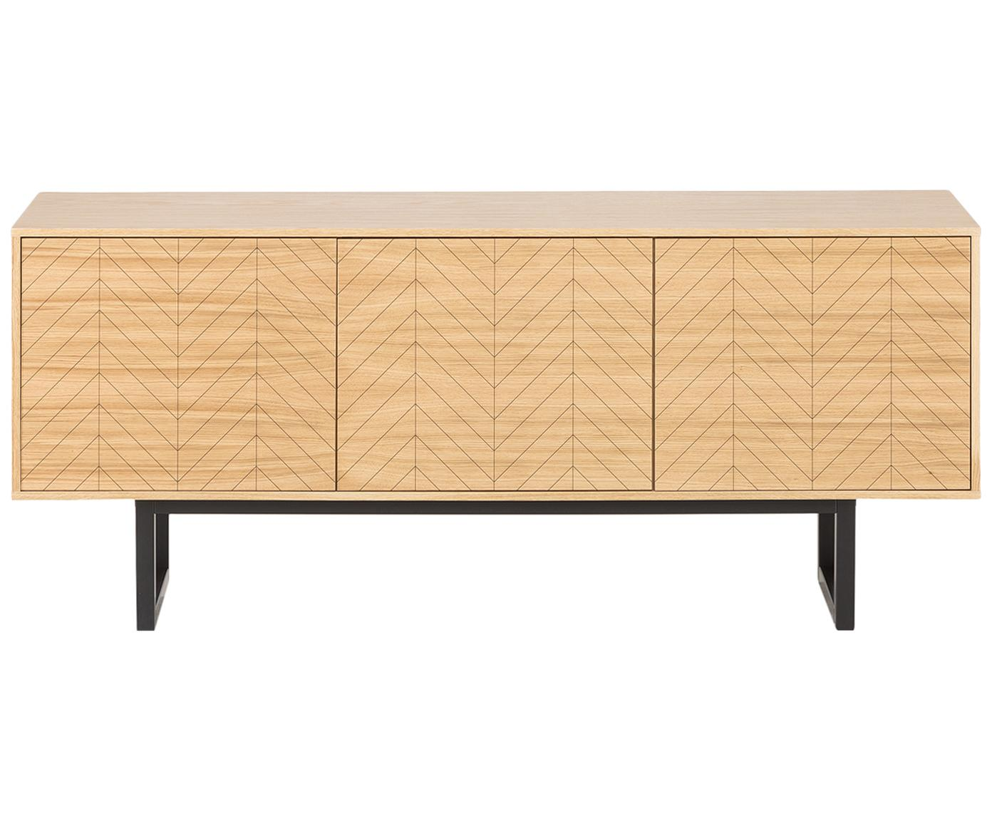 Credenza di design con finitura in quercia Camden, Piedini: legno di betulla vernicia, Legno di quercia, Larg. 175 x Alt. 75 cm