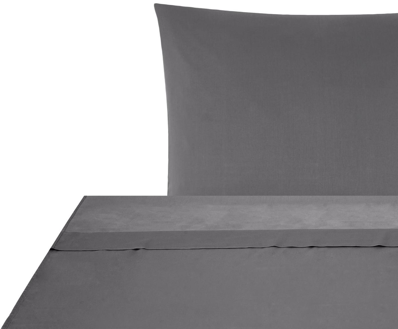Set lenzuola in raso di cotone Comfort 2 pz, Tessuto: raso Densità del filo 250, Grigio scuro, 150 x 300 cm
