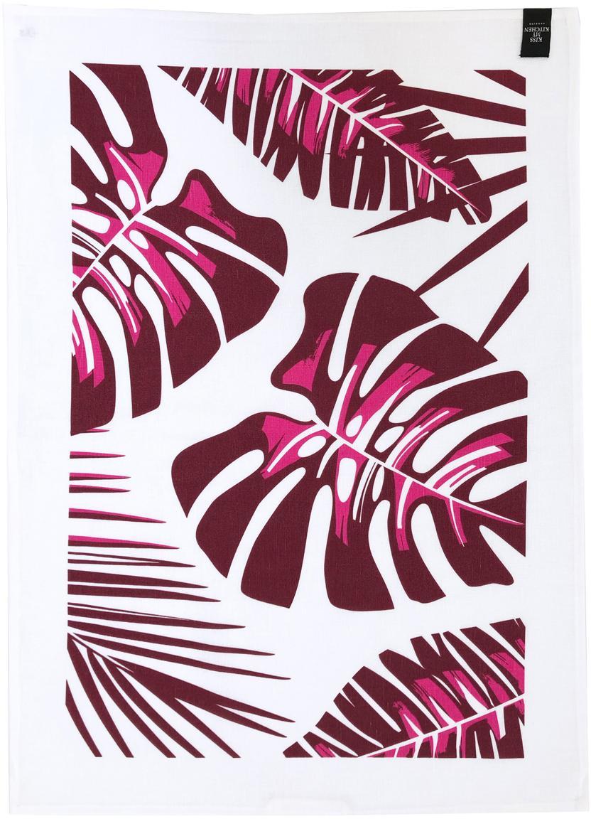 Halflinnen theedoeken Urban Jungle, 2 stuks, 50% linnen, 50% katoen, Wit. bordeauxrood, 50 x 70 cm