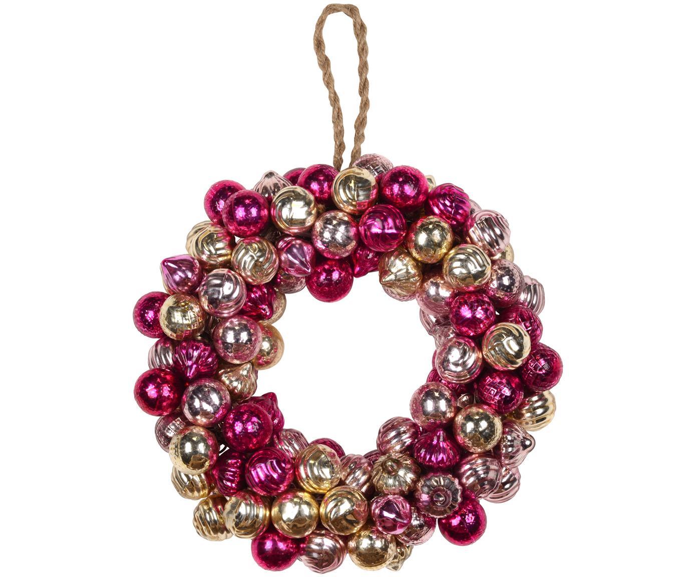 Weihnachtskranz Bells, Glas, Rosatöne, Rottöne, Goldfarben, Ø 25 cm