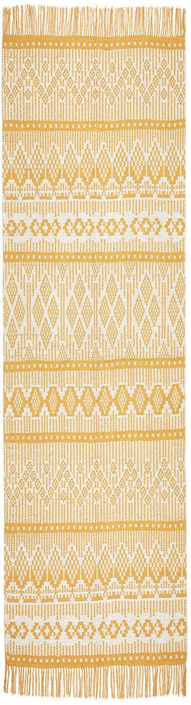 Ethno Läufer Panama aus recycelter Baumwolle, 100% Recycelte Baumwolle, Creme, Senfgelb, 70 x 250 cm