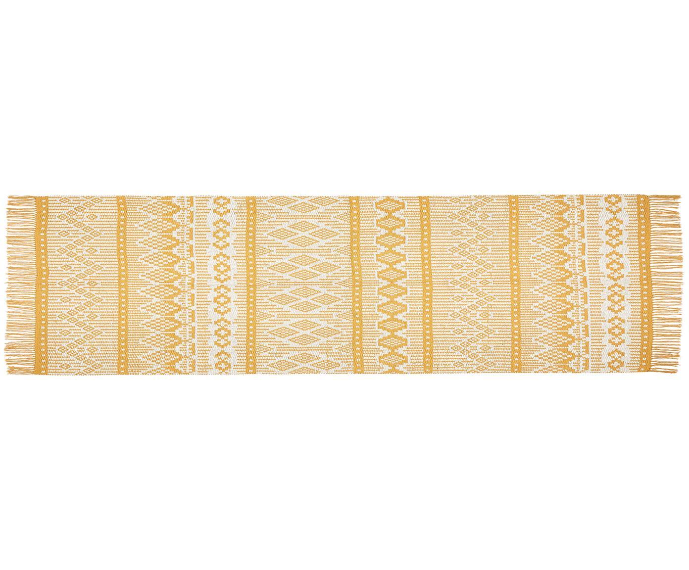 Ethno vloerkleed Panama van gerecycled katoen, Gerecycled katoen, Crèmekleurig, mosterdgeel, 70 x 250 cm