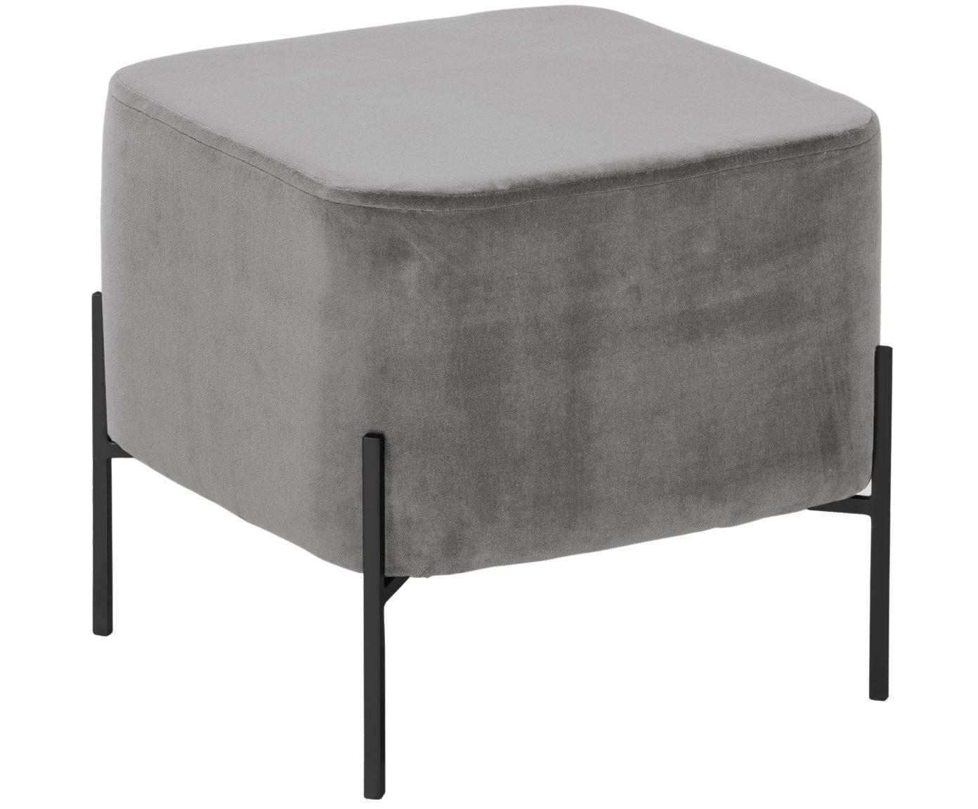 Samt-Hocker Harper, Bezug: Baumwollsamt, Fuß: Metall, pulverbeschichtet, Bezug: GrauFuß: Schwarz, 46 x 44 cm