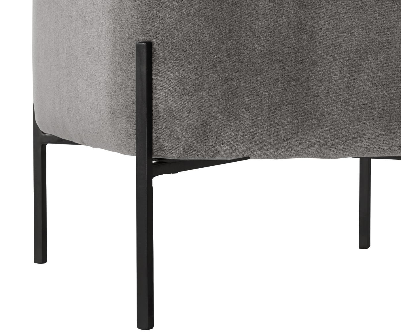 Puf z aksamitu Harper, Tapicerka: aksamit bawełniany, Tapicerka: szary Nogi: czarny, S 46 x W 44 cm