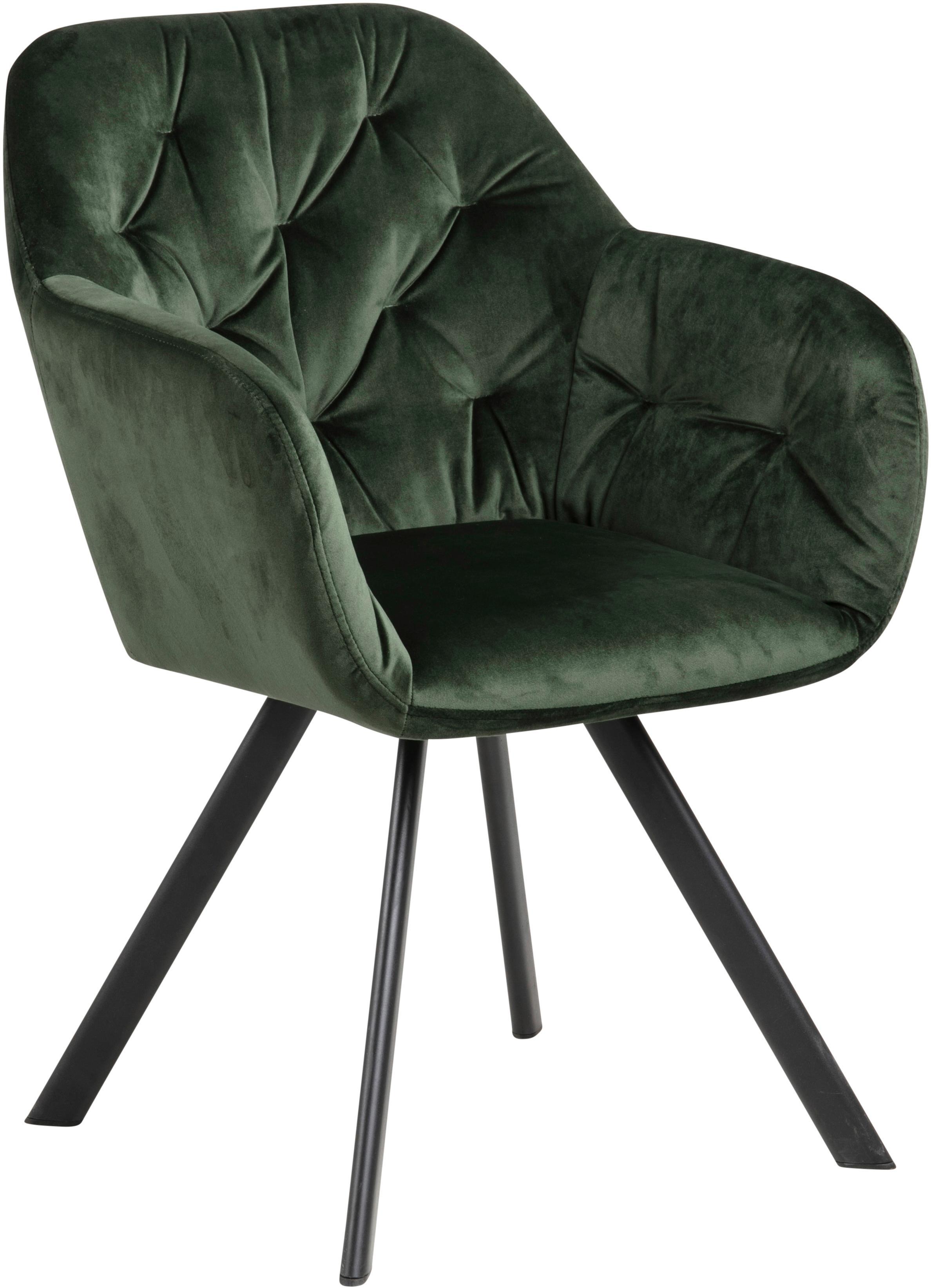 Krzesło z aksamitu z podłokietnikami Lucie, Aksamit poliestrowy, metal, Zielony, czarny, S 58 x G 62 cm