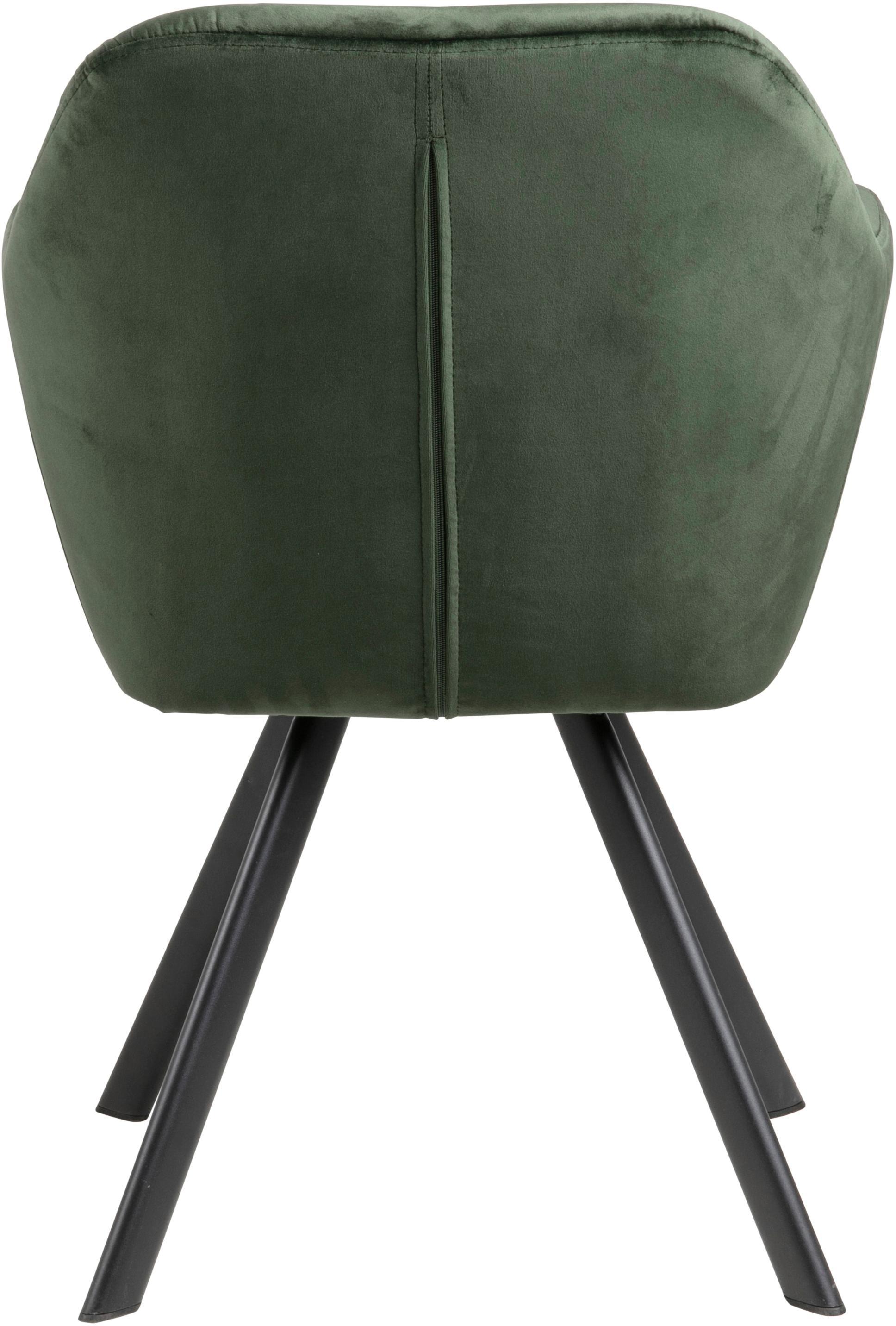Drehbarer Samt-Armlehnstuhl Lucie, Bezug: Polyestersamt Der hochwer, Beine: Metall, pulverbeschichtet, Samt Waldgrün, B 58 x T 62 cm