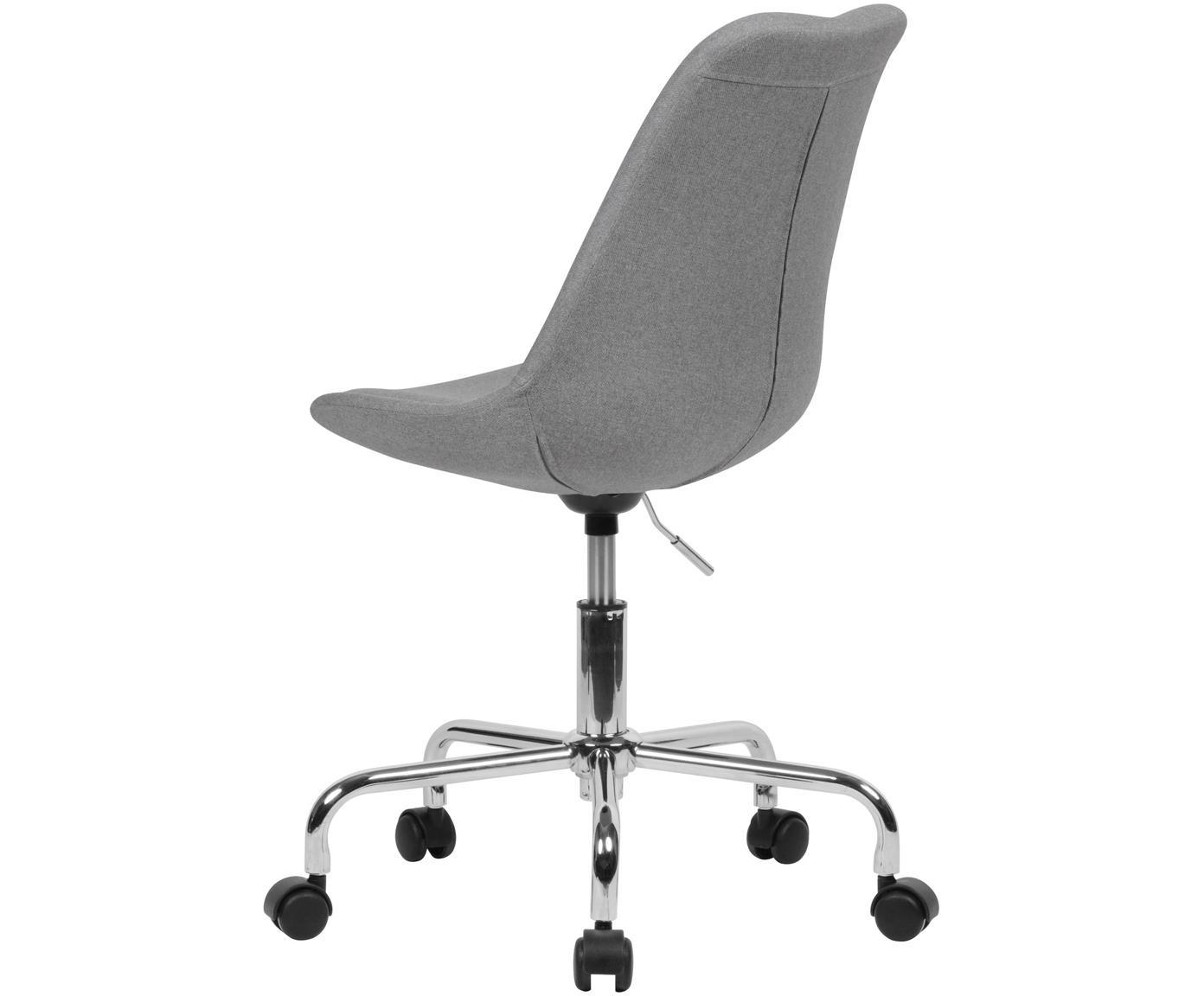 Bürodrehstuhl Lenka, höhenverstellbar, Bezug: Polyester, Gestell: Metall, verchromt, Webstoff Grau, B 65 x T 56 cm