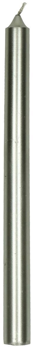 Candele lunghe Ignis, 2 pz., 95% cera paraffinica, 5% cera di soia, Argentato, Ø 2 x Alt. 25 cm
