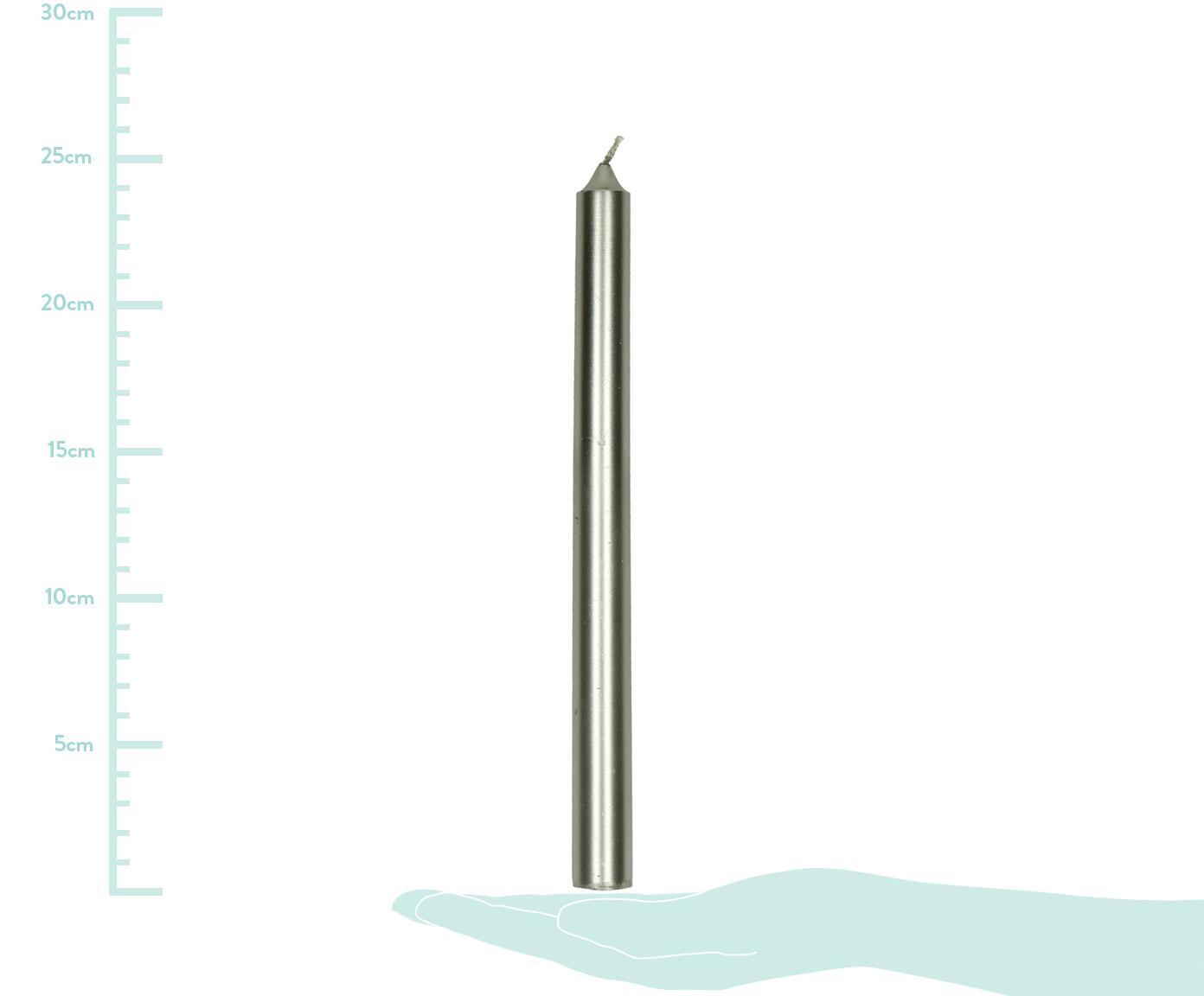Świeca stołowa Ignis, 2 szt., Parafina, Odcienie srebrnego, Ø 2 x W 25 cm