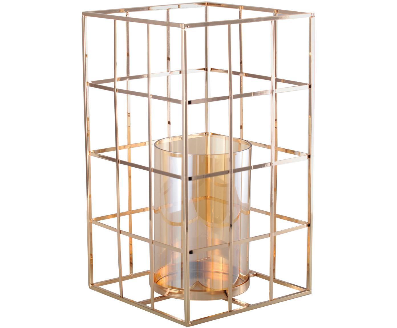 Portacandela Kubic, Struttura: metallo, Portacandela: vetro, Dorato, Larg. 17 x Alt. 20 cm