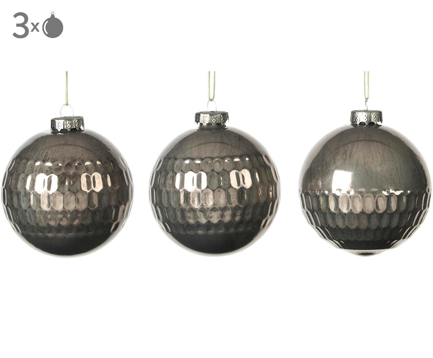 Set palle di natale Grafik, 3 pz., Verde scuro, Ø 8 x Alt. 8 cm