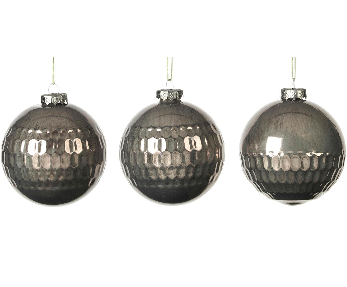 Kerstballenset Grafik, 3-delig, Donkergroen, Ø 8 x H 8 cm