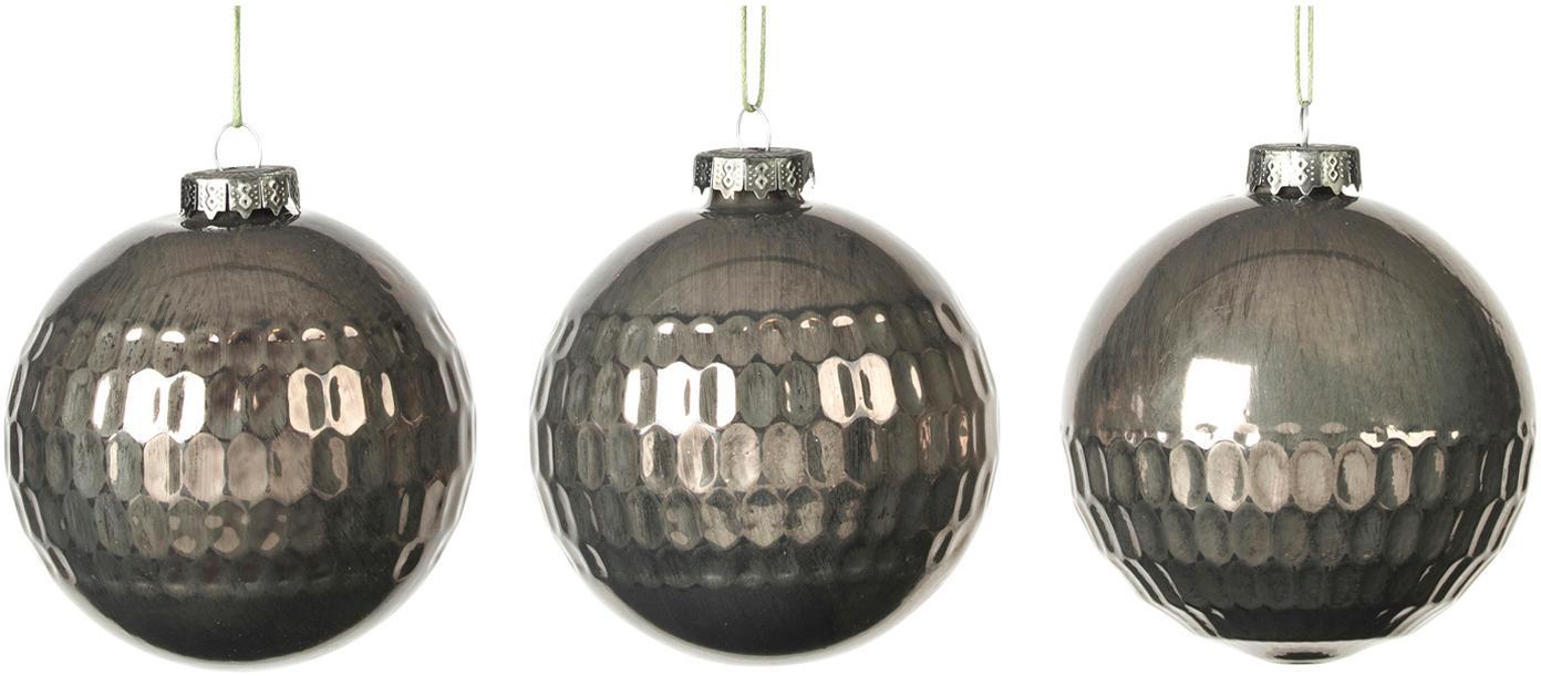 Weihnachtskugel-Set Grafik Ø8cm, 3-tlg., Dunkelgrün, Ø 8 cm