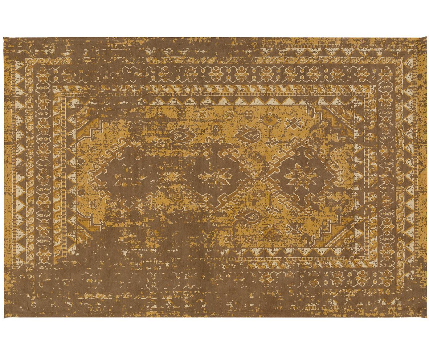 Vintage Chenilleteppich Rebel in Senfgelb, Flor: 95% Baumwolle, 5% Polyest, Gelb, Creme, Braun, B 200 x L 300 cm (Größe L)