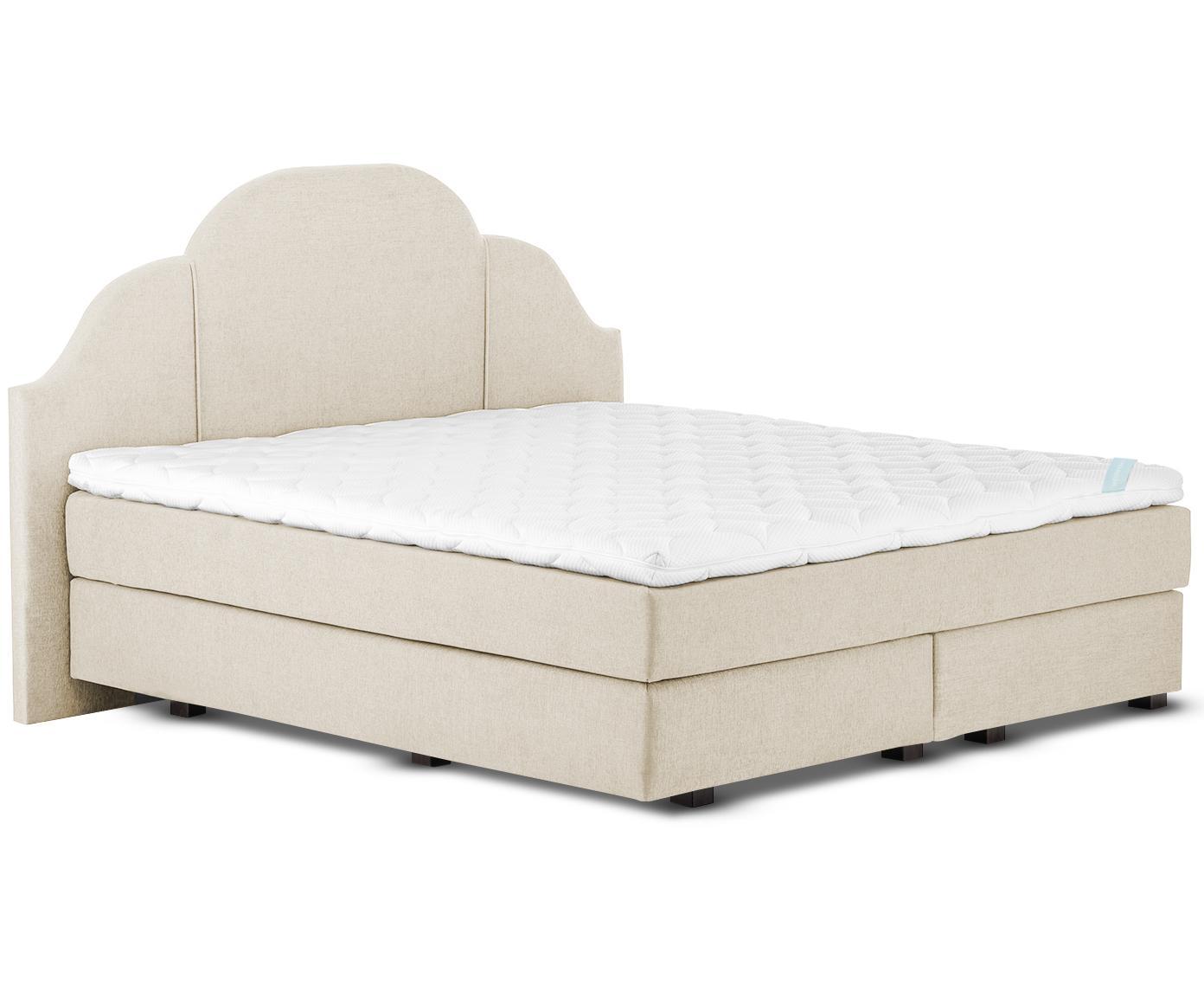 Łóżko kontynentalne premium Gloria, Nogi: lite drewno bukowe, lakie, Beżowy, 140 x 200 cm