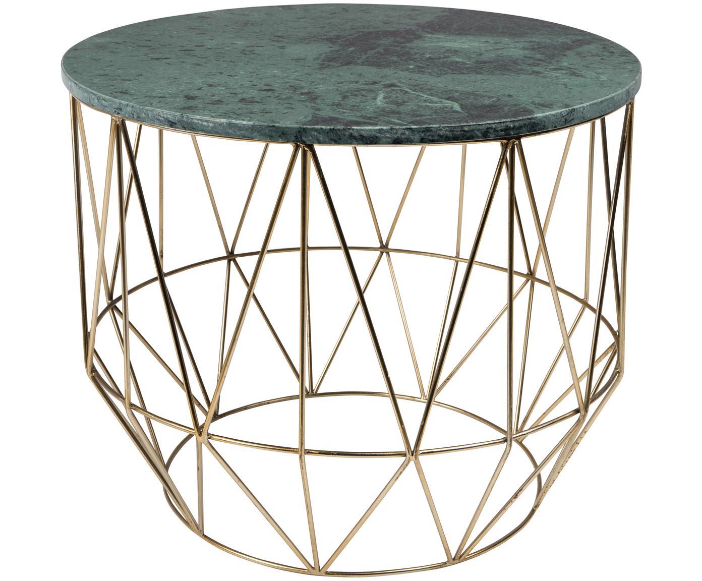 Tavolino rotondo in marmo Boss, Piano d'appoggio: marmo, Struttura: metallo ottonato, Piano d'appoggio: verde marmorizzato Gambe: ottone, Ø 51 x Alt. 42 cm