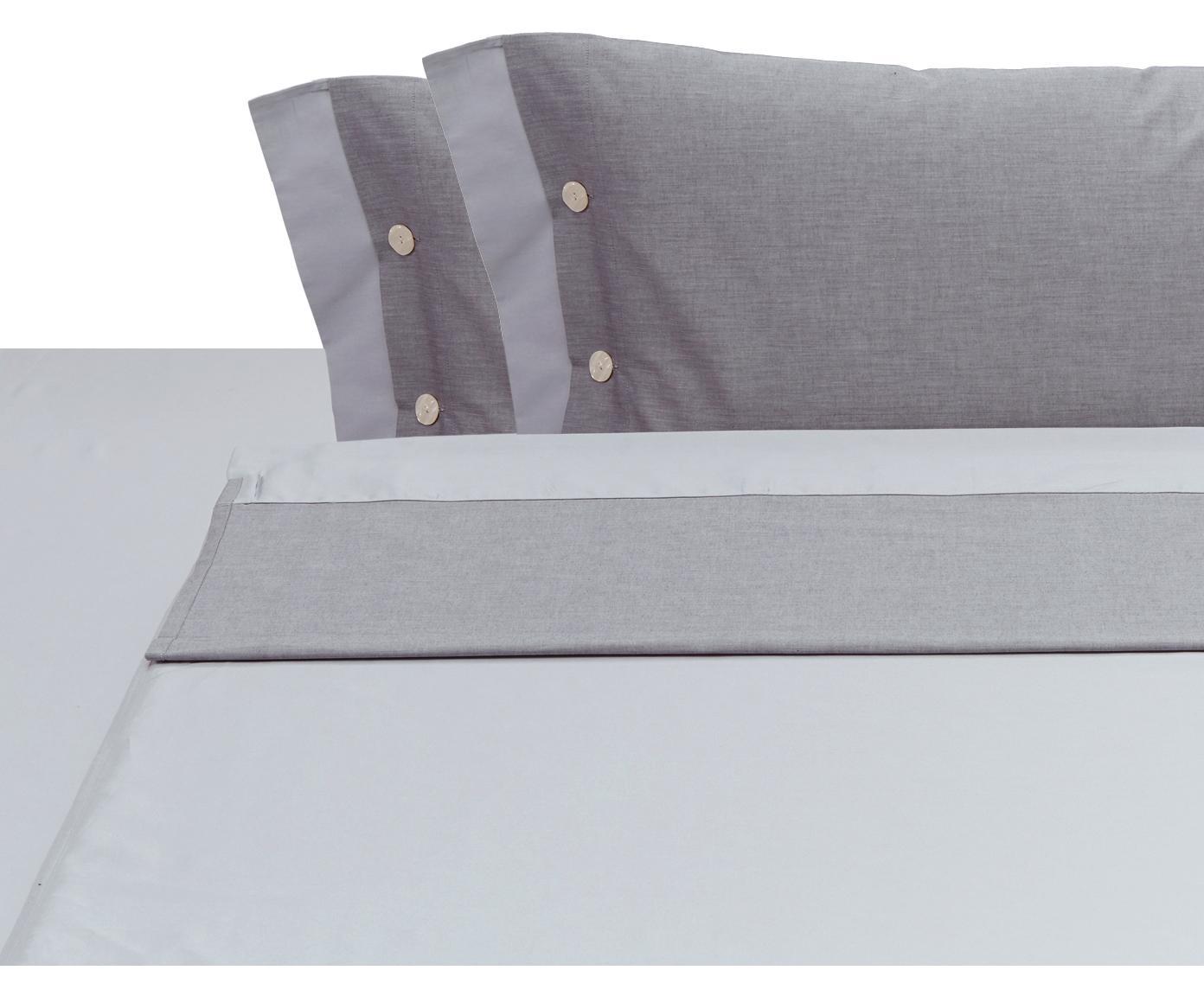 Set lenzuola in raso di cotone Charme, 4 pz, Raso di cotone, Grigio chiaro, grigio, 250 x 290 cm