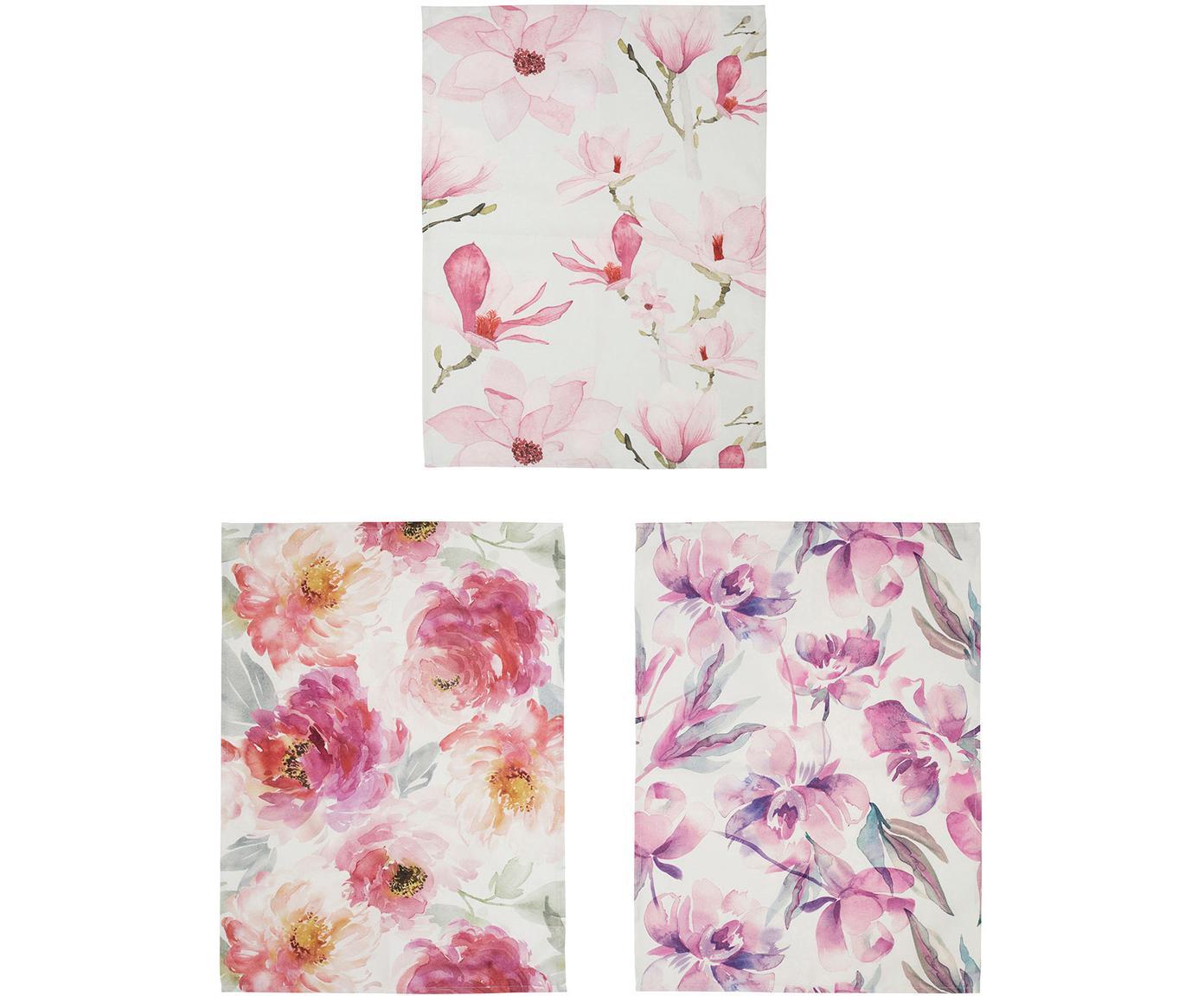 Komplet ręczników kuchennych Magnolia, 3 elem., Bawełna, Biały, blady różowy, S 50 x D 70 cm
