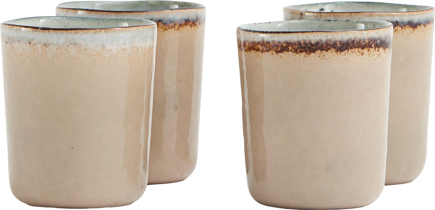 Handgemachte Becher Nomimono in Beige/Grau, 4er-Set, Steingut, Grau, Greige, Ø 8 x H 10 cm