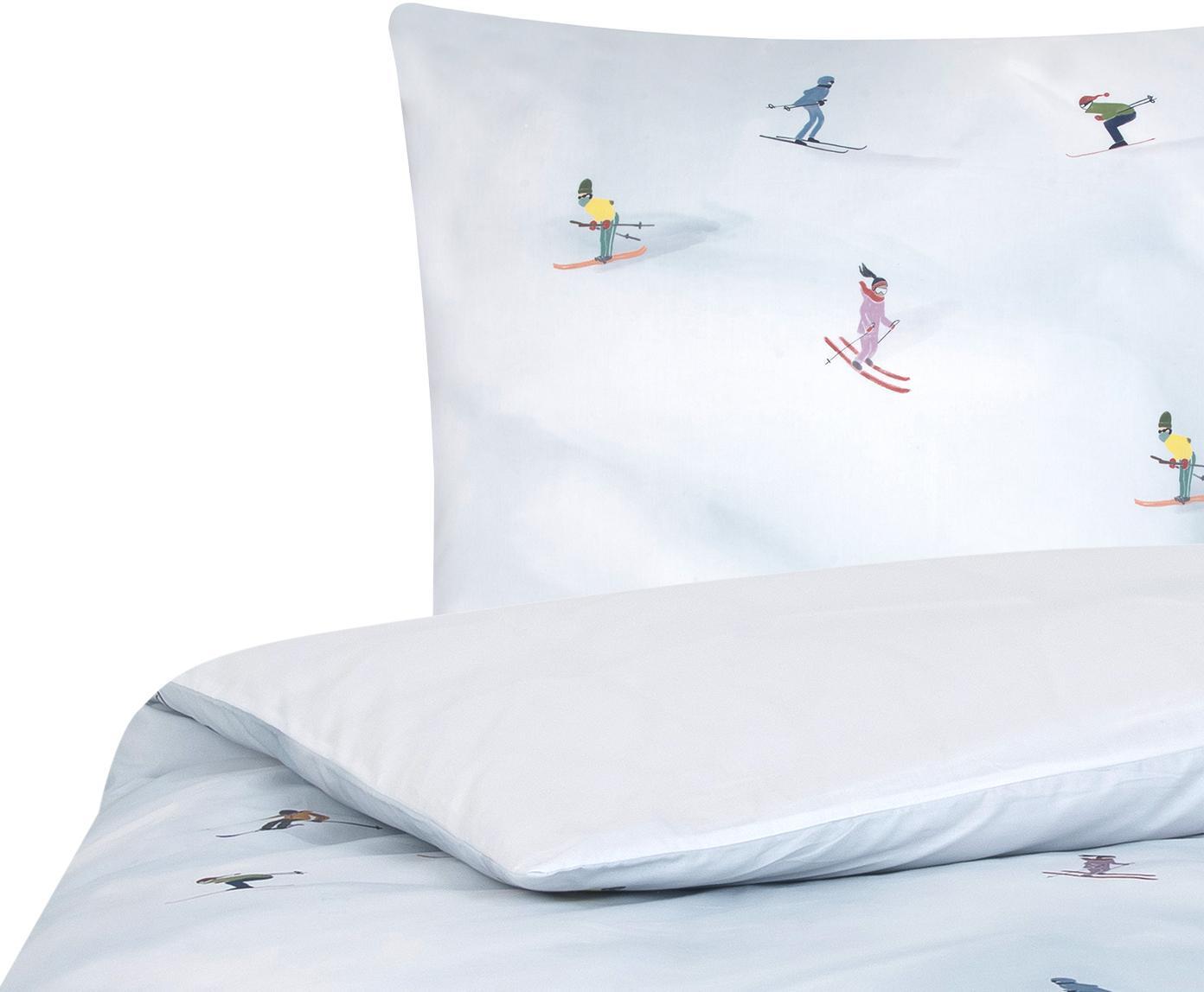 Designer Baumwollperkal-Bettwäsche Ski von Kera Till, Webart: Perkal, Weiss, Mehrfarbig, 135 x 200 cm + 1 Kissen 80 x 80 cm