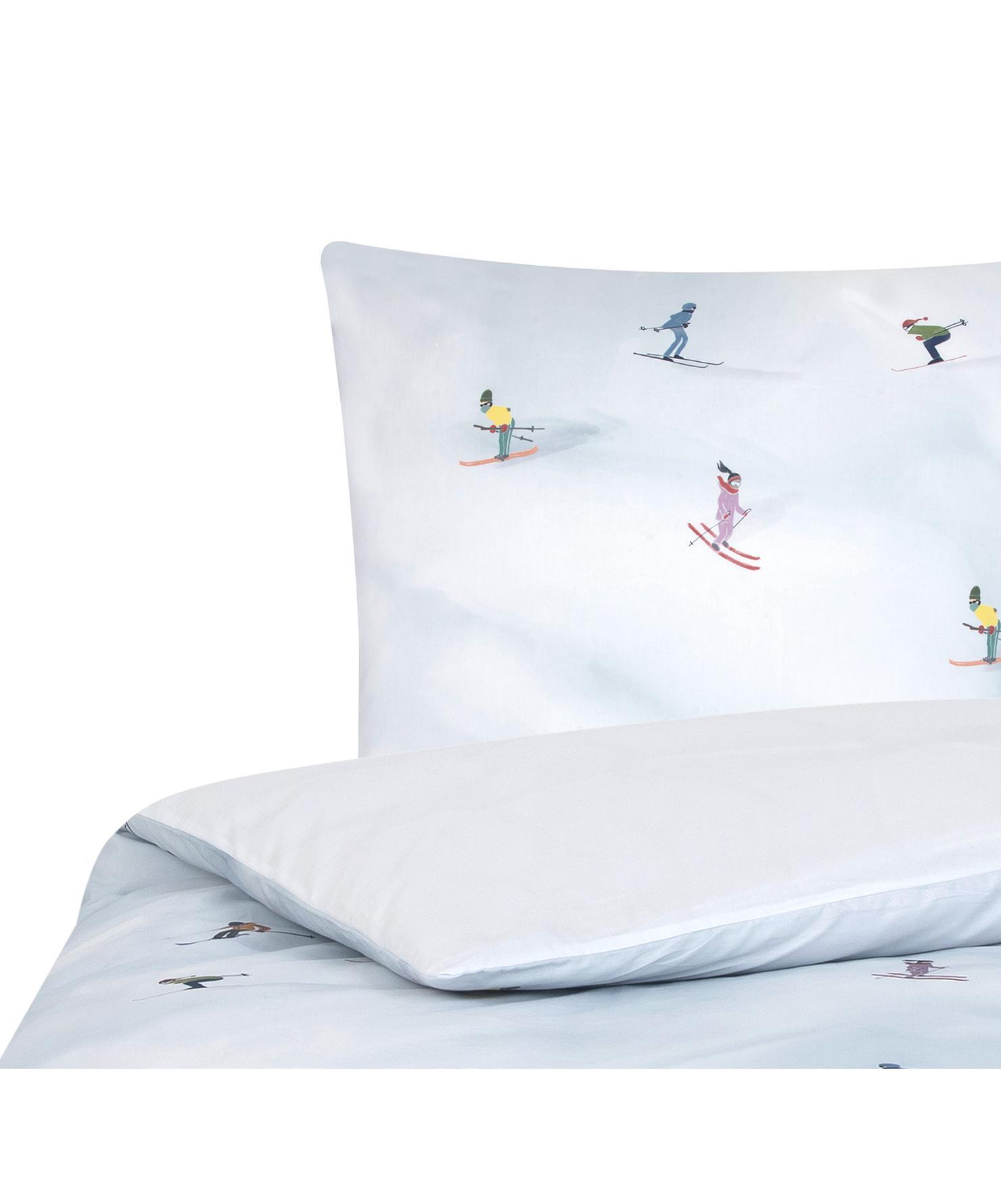 Designer Baumwollperkal-Bettwäsche Ski von Kera Till, Webart: Perkal, Weiß, Mehrfarbig, 135 x 200 cm + 1 Kissen 80 x 80 cm