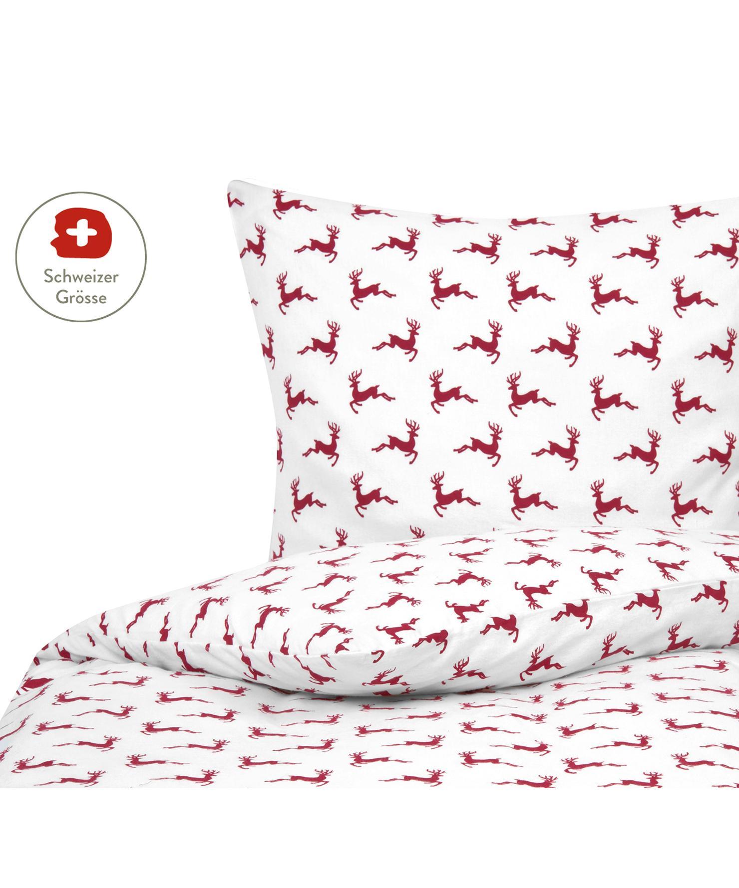 Flanell-Bettdeckenbezug Rudolph mit Rentieren, Webart: Flanell Flanell ist ein s, Rot, Weiss, 160 x 210 cm