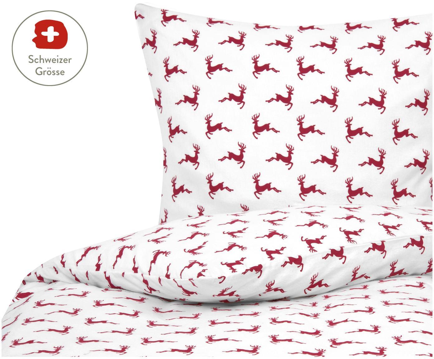 Flanell-Bettdeckenbezug Rudolph mit Rentieren, Webart: Flanell, Rot, Weiss, 160 x 210 cm