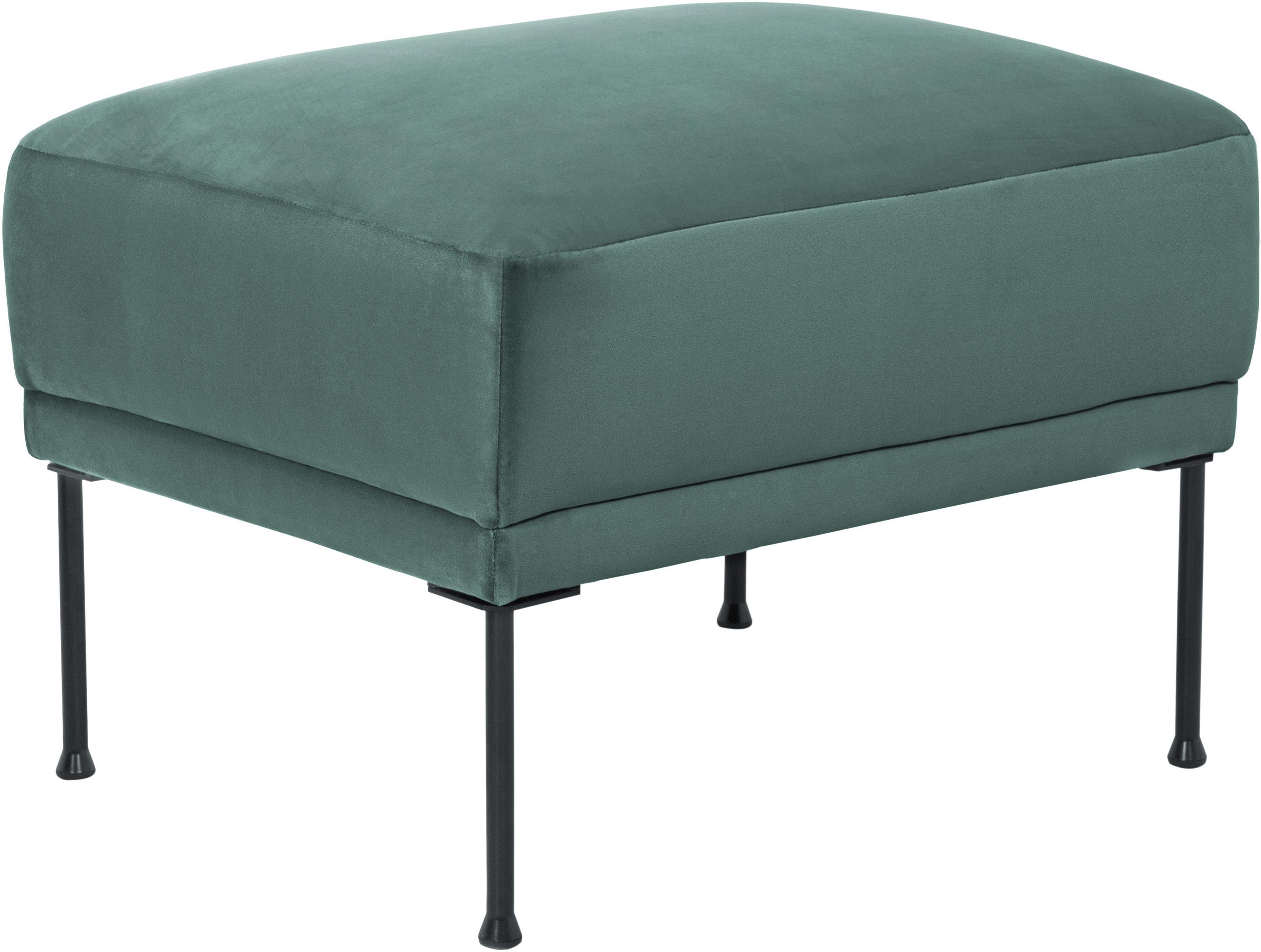 Sofa-Hocker Fluente aus Samt, Bezug: Samt (Hochwertiger Polyes, Gestell: Massives Kiefernholz, Samt Hellgrün, 62 x 46 cm