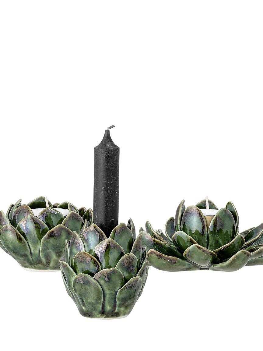 Set 3 portalumini fatto a mano Gloria, Gres, Verde, Diverse dimensioni