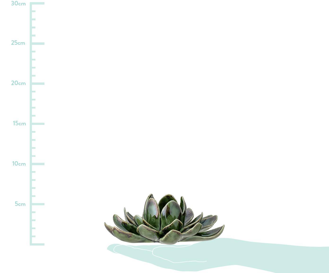 Handgefertigtes Teelichthalter-Set Gloria, 3-tlg. , Steingut, Grün, Verschiedene Grössen