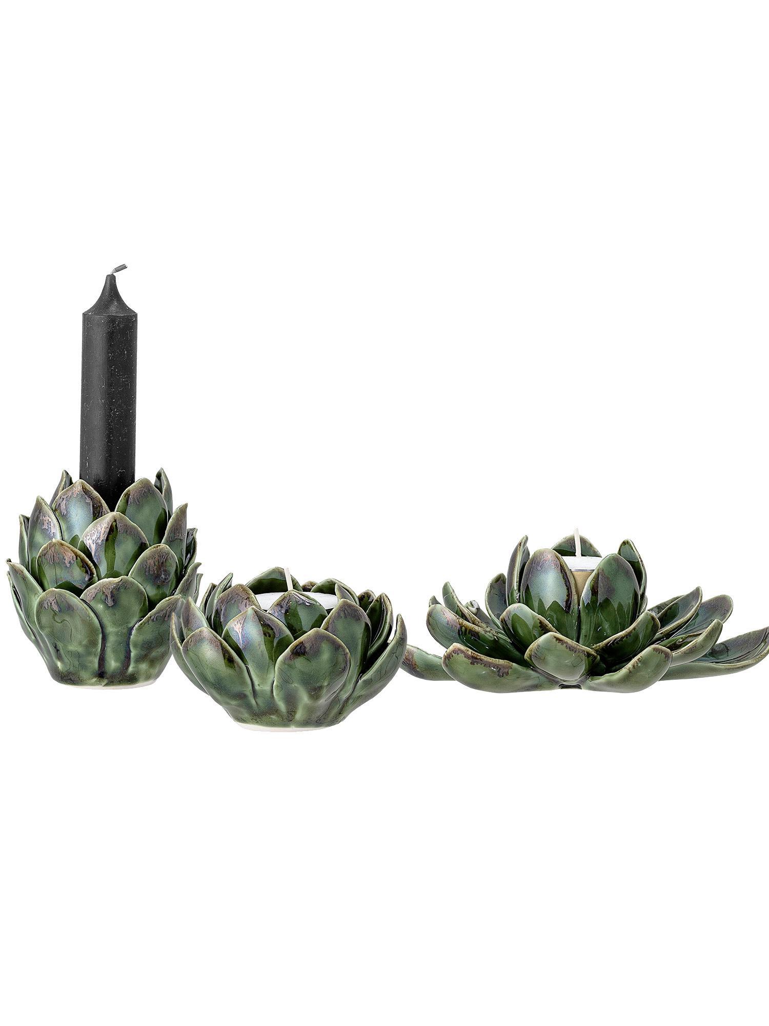 Komplet ręcznie wykonanych świeczników na podgrzewacze Gloria, 3 elem., Kamionka, Zielony, Komplet z różnymi rozmiarami