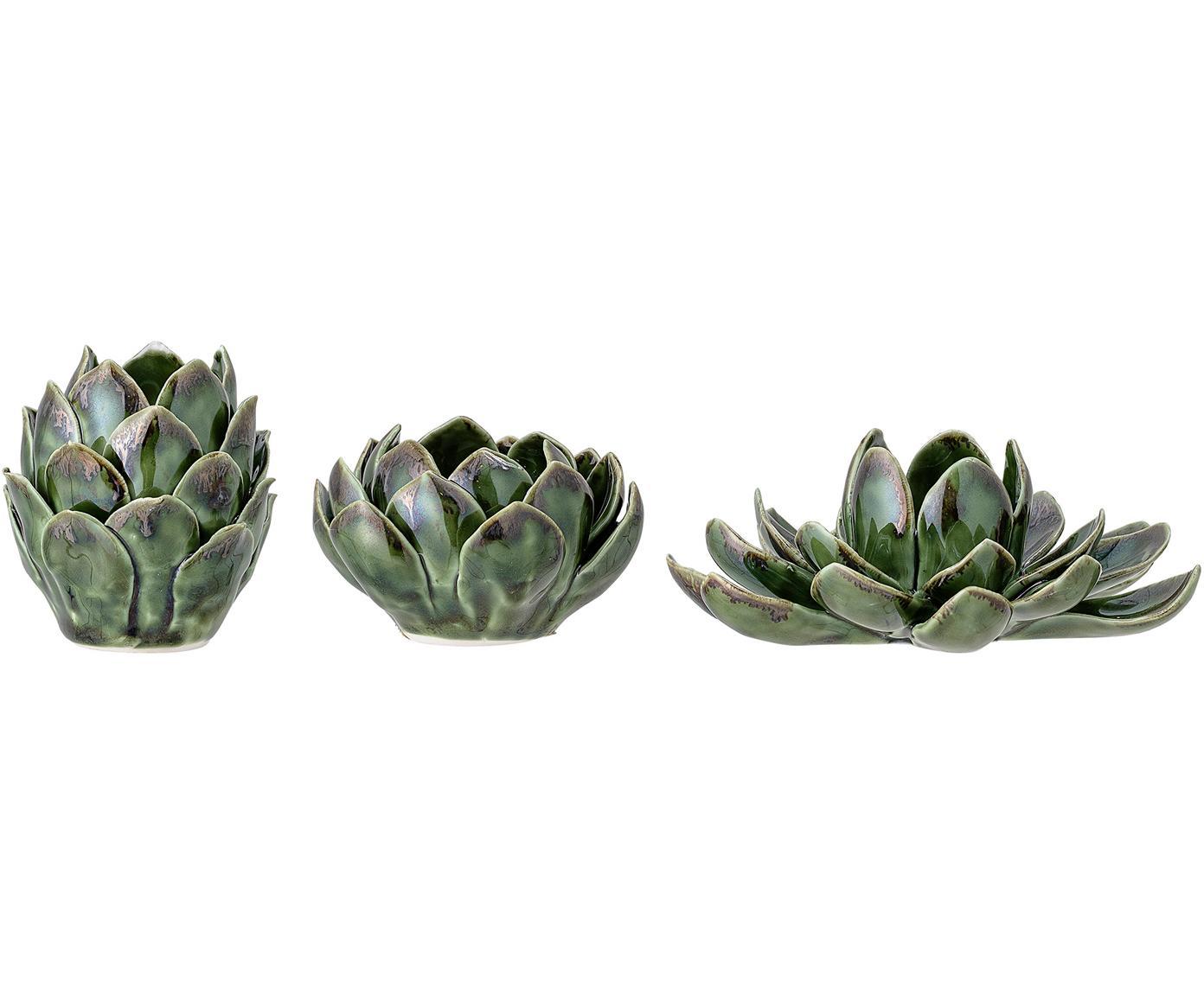 Set de portavelas artesanales Gloria, 3pzas., Gres, Verde, Tamaños diferentes