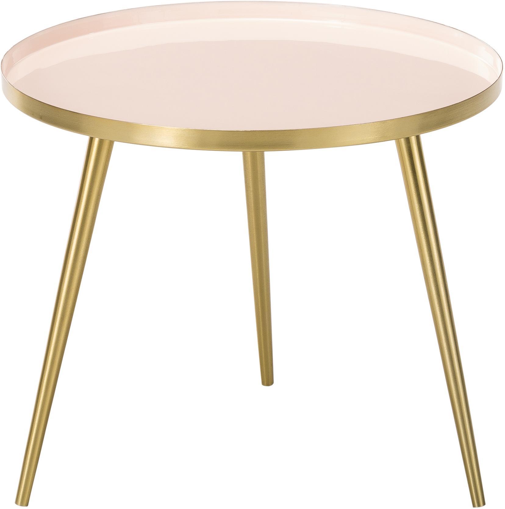 Tavolino rotondo in metallo Amalia, Piano d'appoggio: , Piano d'appoggio: rosa chiaro Gambe: dorato, Ø 50 x Alt. 42 cm