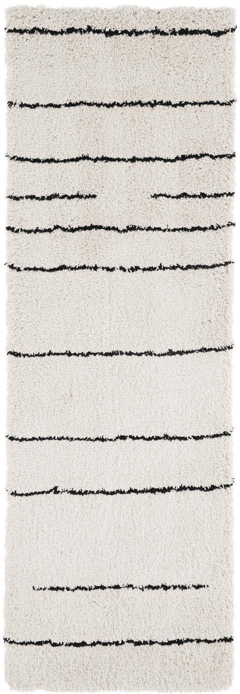 Passatoia tessuta a mano Dunya, Vello: 100% poliestere, Retro: 100% cotone, Beige, nero, Larg. 80 x Lung. 250 cm