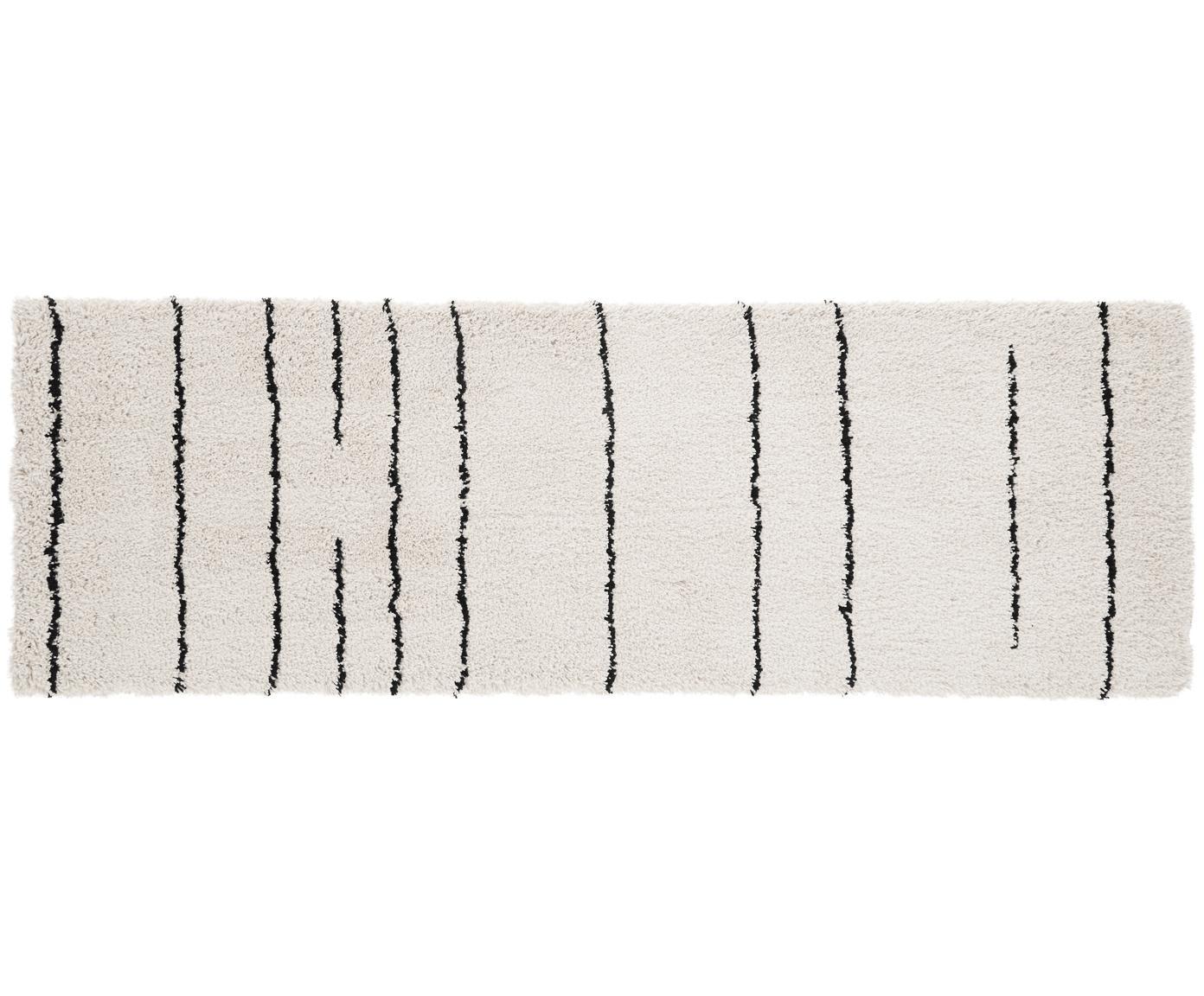 Handgetufteter Läufer Dunya, Flor: 100% Polyester, Beige, Schwarz, 80 x 250 cm
