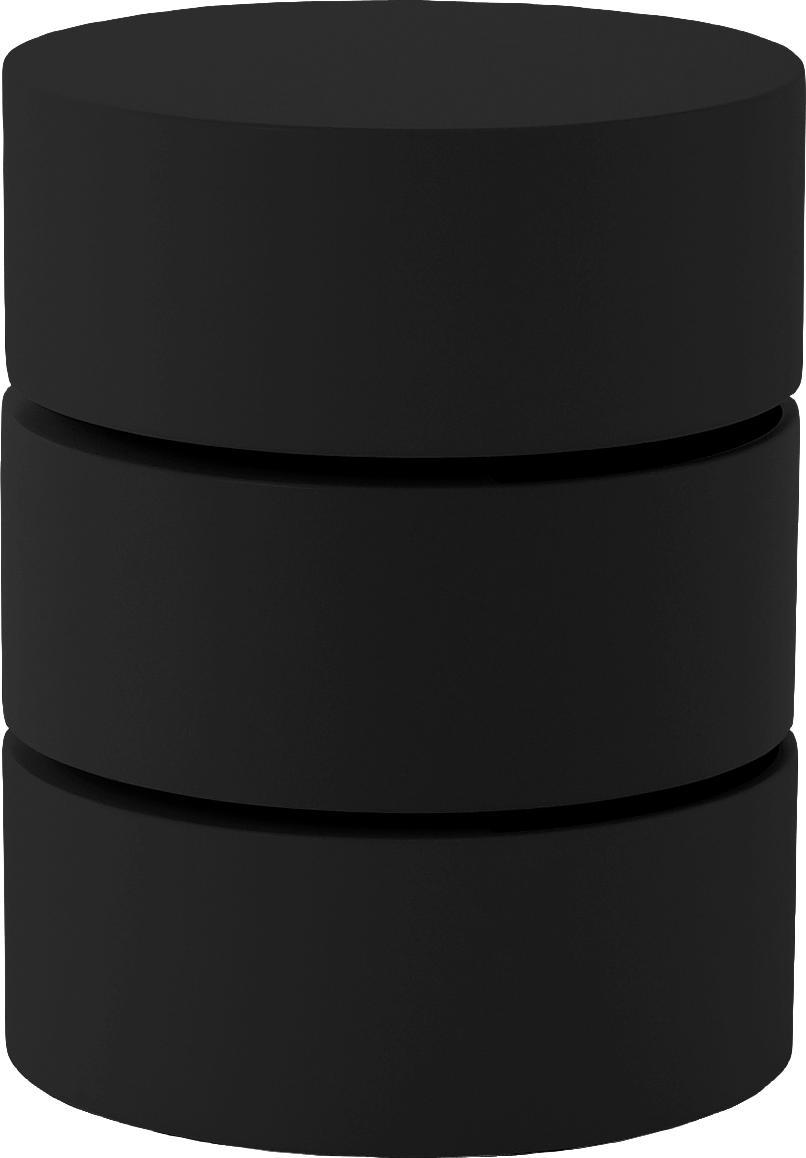 Beistelltisch Loka mit beweglichen Fächern, Mitteldichte Holzfaserplatte, lackiert, Schwarz, Ø 40 x H 51 cm