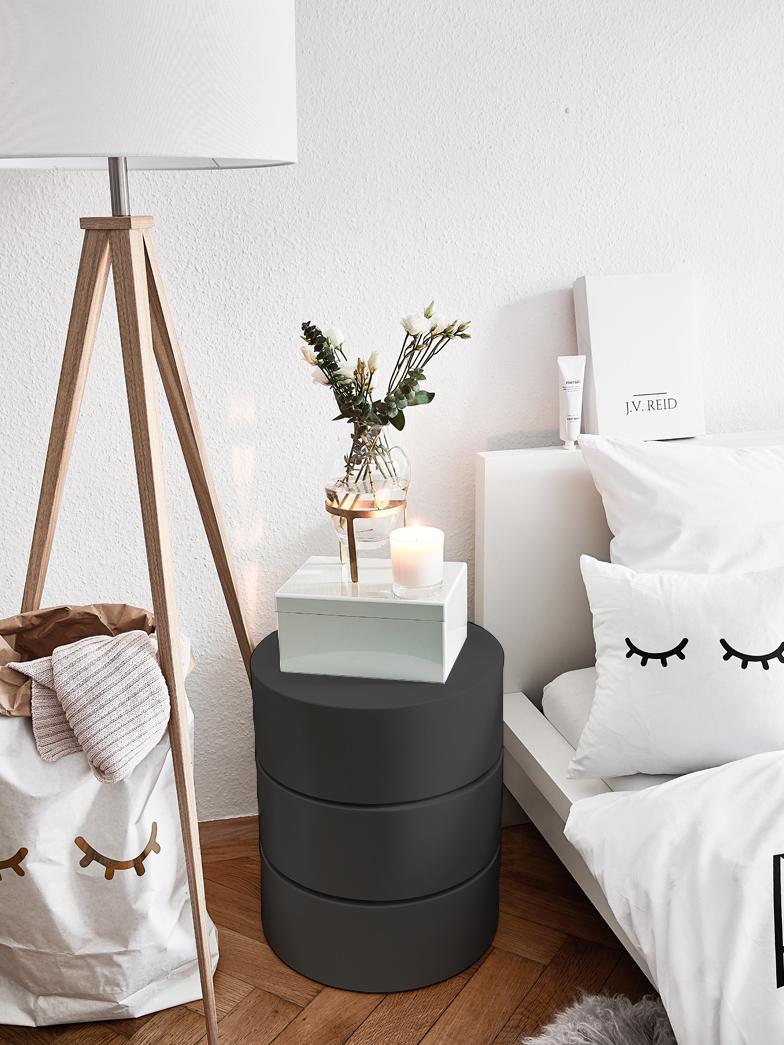 Tavolino con cassetti Loka, Pannello di fibra a media densità, verniciato, Nero, Ø 40 x Alt. 51 cm