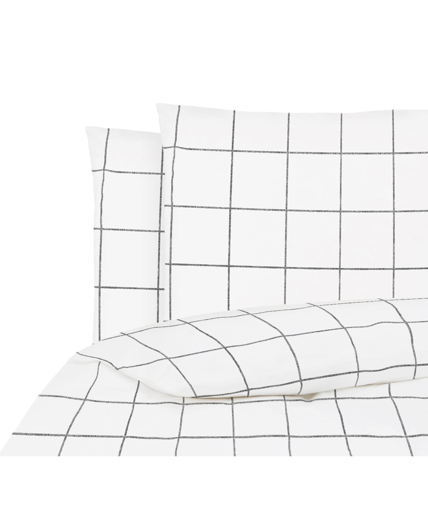 Parure copripiumino in percalle Juna, Tessuto: percalle, Bianco, nero, 200 x 200 cm