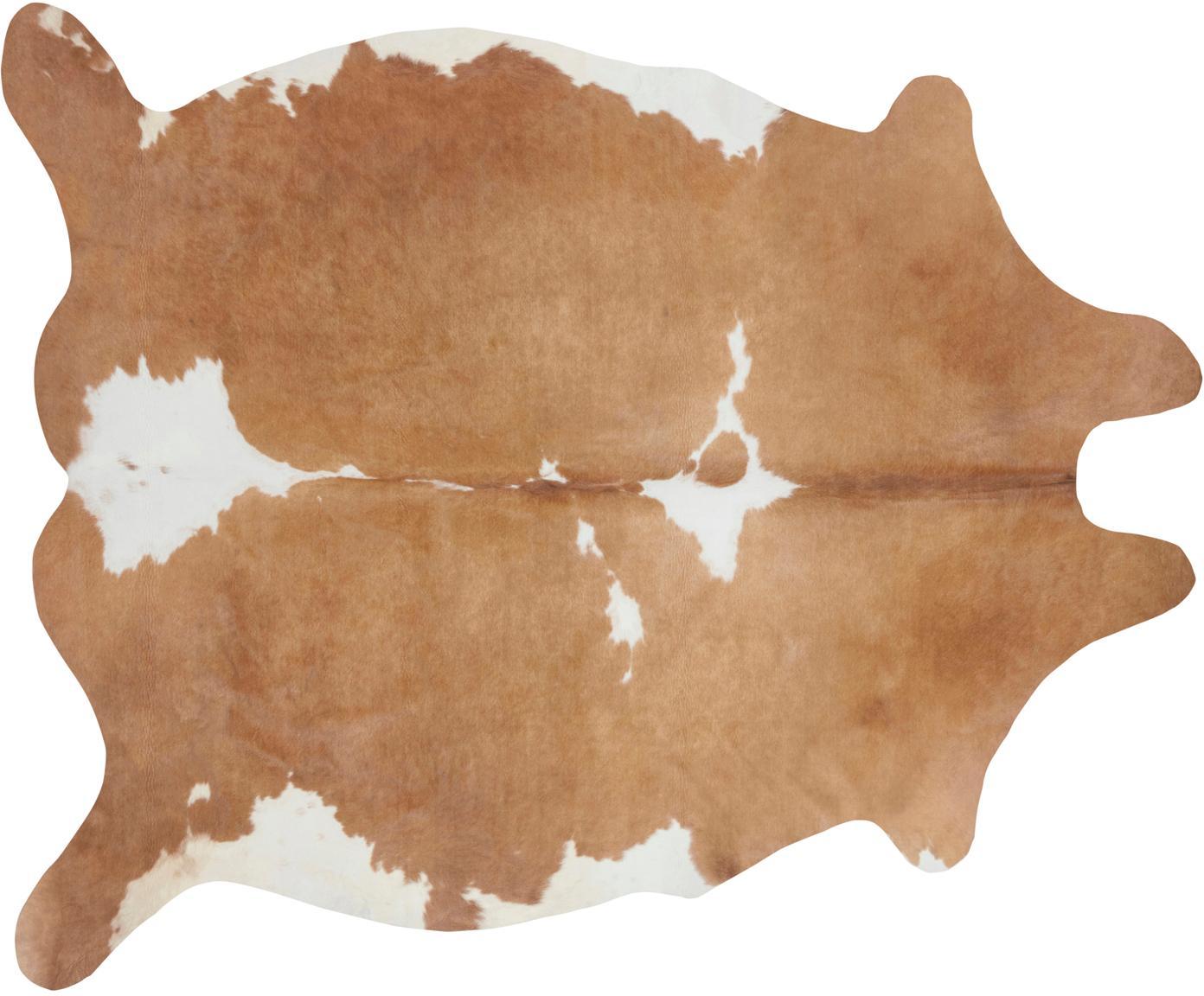 Koeienhuid Chester van imitatieleer, Polyester, Cremekleurig, bruin, 155 x 190 cm