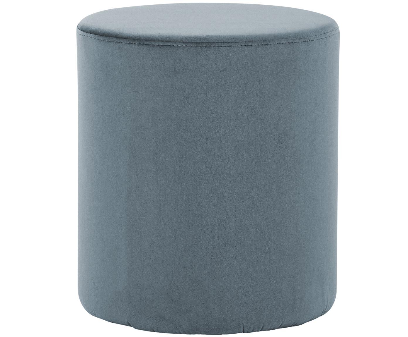 Samt-Hocker Daisy, Bezug: Samt (Polyester) 15.000 S, Rahmen: Mitteldichte Holzfaserpla, Graublau, Ø 38 x H 46 cm