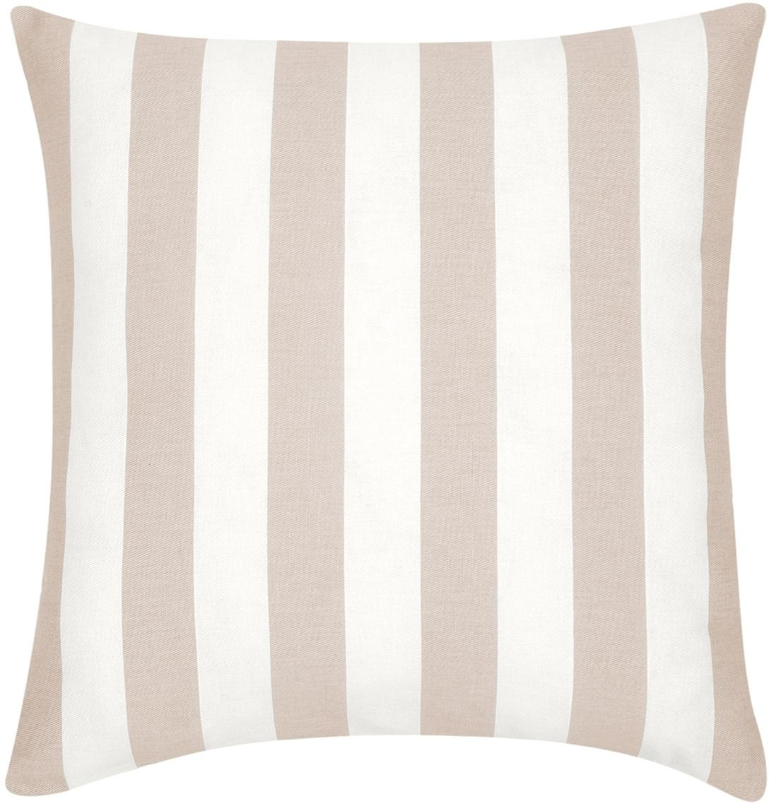 Federa arredo a righe in beige/bianco Timon, Cotone, Taupe, bianco, Larg. 45 x Lung. 45 cm