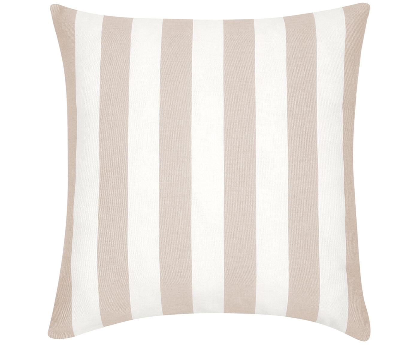 Federa arredo a righe in beige/bianco Timon, Cotone, Taupe, bianco, Larg. 45 x Lung. 45 cm
